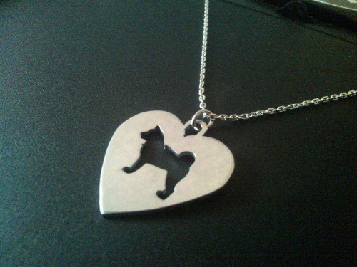 Akita in a heart dog pendant sterling silver handmade by saw piercing